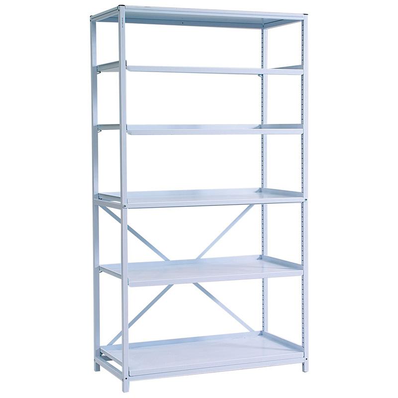 Metal-shelving-unit-with-5-slatted-adjustable-metal-shelves---Classic-1850mm-high